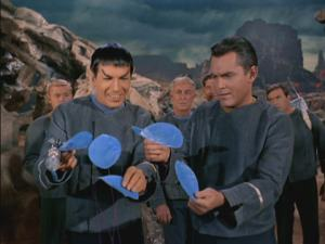 Martian Spock and Surly Pike molest some Talosian vibrating flowers. Notice Pike seems ticked these flowers aren't women.